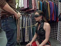 See a tall bitch on high heels dressed in a provocative way. The long brown-haired slut with small tits is disgraced publicly. Her dominant partner brings her to a local store, where he makes her suck his cock, when it's a peak hour and many clients enter the store. Casey is blindfolded and wears a kinky leash.