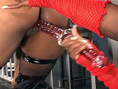 Non-stop pussy toying in the bars as these busty ebony lesbian divas in sexy latex bares everything in having nasty fun.
