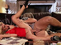 Kayla is an easy-going slutty house wife, who is just looking forward to cheat over her husband. The blonde-haired busty bitch wears a provocative molded dress, that puts in evidence her lovely body curves. Click to watch the horny lady getting fucked sideways on the couch, or banged hard from behind. Enjoy!