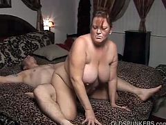 Gorgeous mature bbw enjoys a big boner, with her lovely large tits jiggling about as she gets fucked hard and cum gets all over her pretty face.