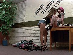 Charming punk with long hair getting being drilled in a steamy threesome