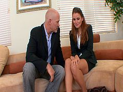 This older and bald boss suggests his sexy young employee that she should relax or take a vacation. She doesn't want one, so he finds another way to relax her by fucking her hard.