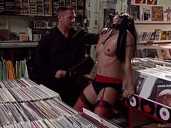 Disgracing a woman in a public store, is a tough way to punish and humiliate her. The slutty bitch does not revolt against the harsh treatment. Wenona obeys to the dominant guy's orders. He makes her suck his cock, while she stands down on the floor in a public store, where customers keep coming. Click to see!