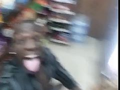 Crazy black couple fucking in a supermarket