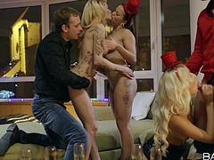 Let the party begin! Two blonde attractive ladies on high heels and elegant evening dresses seduce their partners with their charm. The atmosphere gets hotter when another babe makes her appearance. After a glass, the guys cannot wait to see them naked and sucking cocks. See the hardcore scenes!