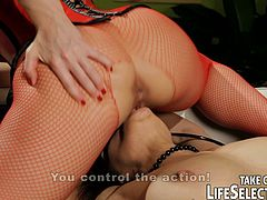 A beautiful blonde mistress and her lovely brunette slave do some lesbian BDSM. We get to see some anal and some hot strap-on action.