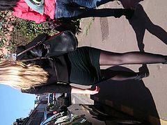 Candid teen in black pantyhose