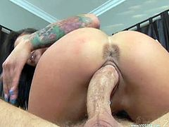 Tattooed brunette Angelina Valentine gets her pierced cunt fucked