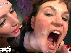 Bunch of guys found these three amateur German sluts as they are willing to get naked in front of them and starts sucking their cocks one by one making them cum all over their faces and body.