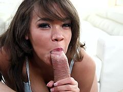 Cassidy can be a real deceiver when she wants to. See how she was charming me away with her nice smiles and talks. But when she flashed those amazing breasts of her, my cock just ignited to take off and explore the whole galaxy of her mouth. Watch her sucking my dick and balls with giving me handjob!