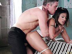 Mick Blue fucks Kaylani Lei in her mouth as hard as possible in oral action