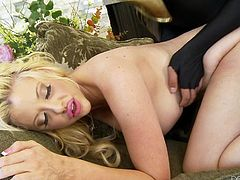 Sexy blonde just blew the mind of the masked fighter, since he saw that hot naked body of hers. He tried to dive into her juicy bubble butt, while she was taking off her panties. And without wasting anytime, he started banging her with legs spread wide. Watch him fucking her from behind as well!