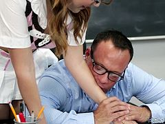 If she sucks on her teacher's cock, maybe, her will give her a better grade. The cutie opens up her legs in his desk and he eats out her snatch. Look at the cute schoolgirl suck him off. She rides her teacher hard and fast.