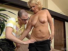 Interested in seeing hot mature women eager to play dirty with any cock they can find? Regi is a blonde-haired milf, who easily gets undressed. The lusty mummy sucks dick with passion down on knees. She gets aroused when her nipples are licked and enjoys being penetrated sideways. See the hardcore sexy scenes!