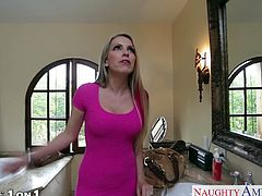 Superb brunette wife in yellow dress Courtney Cummz suck and ride a big prick on the kitchen floor