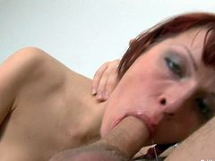 Kinky red haired chick Anna is throated by brutal boyfriend