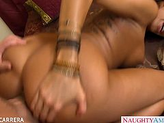 Naughty America brings you a hell of a free porn video where you can see how the tattooed brunette Kayla Carrera enjoys a hot fuck while assuming very naughty positions.