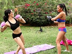Fit babes train outside when they decide to get naked and fuck instead