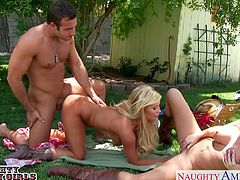 Superb busty country girls Summer Brielle and Tasha Reign sucking and fucking a large cock in threesome outdoors