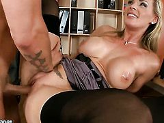 Blonde Tanya Tate with gigantic breasts gets heavily slam fucked