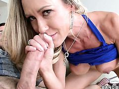 Brandi Love with giant jugs makes dude ejaculate after sex