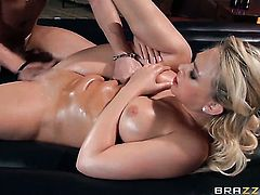 Xander Corvus makes his rock solid snake disappear in sultry Kagney Linn Karters mouth