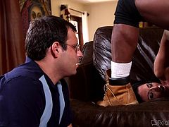 Slutty mommy, Nikki, is busy with a black guy on the couch. While she was occupied sucking his bbc, her man steps in and caught her red handed. Now, because Nikki s a filthy slut, she decides to make her guy cockold and continues to get stuffed by black meat in her pussy, right under his eyes.