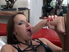 A couple of torrid sexy tramps in fishnets have hard 3 some with their friend