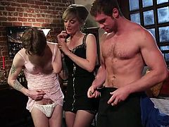 He is dressed in his nightgown, and the mistress is going to make him take part in some humiliating sexual games. He gets down on his knees for her, and she guides him onto a superior cock. The slave sucks the hunk's big cock for the lovely blonde mistress.