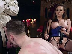 She wants to pleasure herself, as she watches her blindfolded slave do a humiliating task. He is guided over to a big thick penis and he must suck on it, for her amusement. Chanel plays with her vibrator and gets herself off, while watching her slave turn bisexual.