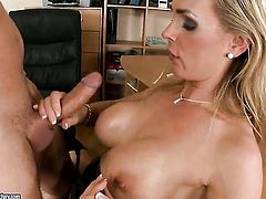 Blonde Tanya Tate with juicy hooters loves to suck and cant say No to hard cocked dude