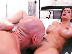 Johnny Sins gets his always hard tool sucked by Gia Dimarco with gigantic hooters