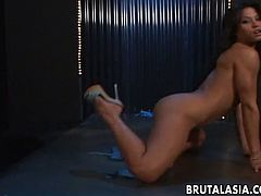 Flat chested chick Jayna Oso masturbates and gets fucked anally