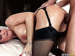 Mick Blue gets his always hard cock used by anal-loving Diamond Foxxx with big knockers