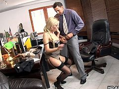 Blonde lass is sucking the dude's balls hard before she gets to be dicked down by his big erect penis. She wears some hot lingerie and she is boned later by him hard.