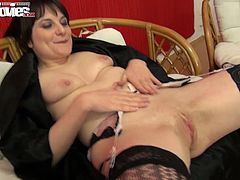 Two perverted milfs examine each others juicy muffs with sex toy
