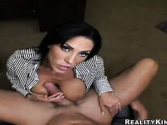 Billy Glide shoves his love wand in sinfully sexy Veronica Raynes mouth after backdoor sex
