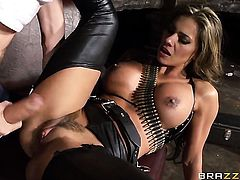 Esperanza Gomez with gigantic breasts and Danny D have a lot of fun in this blowjob action