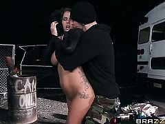 With juicy breasts spreads her pussy lips invitingly in hardcore action with Johnny Sins