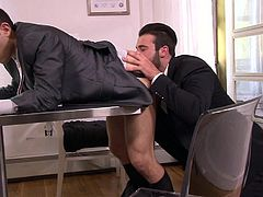 This gay hunk want a promotion really bad, and he will do anything to get it. He goes in to see his boss and gets down on his knees, to suck his cock! The boss is so lucky, that he gets a rimjob from his employee, too!