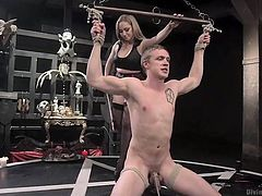 Yeah, she's a bitch, but she's a divine one! Aiden is one of those women you will bent a knee for, but not for marriage! The sex bombshell knows how to put men where they belong and at this ritual, she proves just that. Torturing, taunting, shocking and ass fucking this dude, is just the warm up, so enjoy!
