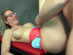 Slutty Jana cannot say no to having fun with a horny younger partner. The lusty bitch removes her clothes, enough to let him enjoy the sigh of her appetizing cunt and lovely big tits. Click to see the mature lady with curly blonde hair and eye glasses, opening widely her legs. A crazy blowjob is also included!