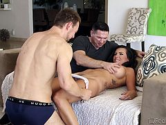 Are you interested in hardcore videos with exciting threesomes? Danica is a busty brunette lady, who is simply craving for cock! Two men are avid to see her naked body and explore it in every possible way. Click to see the inciting blowjob and pussy eating scenes... The bitch is about to get banged from behind!