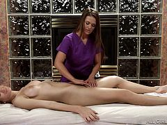 Girls can spend exciting moments together. Just take a look at these two superb ladies. The hot masseuse with long brown hair, admires Amanda's lovely tits and peachy cunt. See the naked blonde slut enjoying to have her perfect body oiled from head to toe, with a gentle care. Abby dreams of licking pussy...