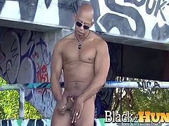 Shane Diesel poses and plays with his hard cock