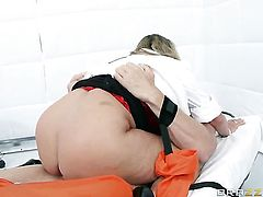 Johnny Sins gets his always hard love wand sucked by Holly Halston with big tits