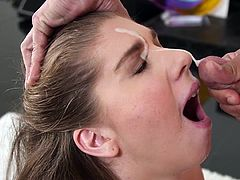 Visit official 1000 Facials's HomepageBig boobs bimbo amazes with her cock sucking skills and strokes cock between her melons until a huge load bursting on her face
