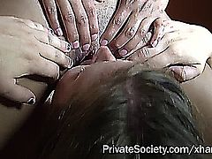 white and ebony amateur girls in a lesbian and group-sex clip
