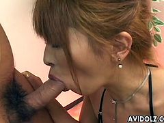Sucking two delicious cocks brings slutty Japanese redhead delight