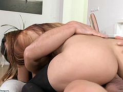 Seductive brunette enjoys riding hard cock reverse and face to face
